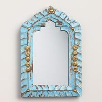 Mini Blue Carved Wood Mirror