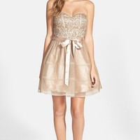 Junior Women's Steppin Out Sequin Lace Strapless Skater Dress,