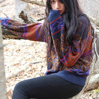 Red Brown and Purple Print Heavy Knit Vintage Sweater