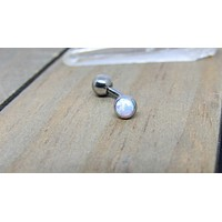 "Titanium white opal VCH jewelry 14g 3/8""-7/16"" floating navel piercing barbell internally threaded"