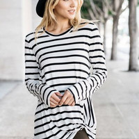 Long sleeve striped womens twist top with front knot detail