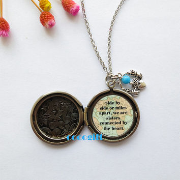 Sister Necklace ,Side By Side Or Miles Apart We Are Sisters Connected By The Heart, Claddagh Heart charm Locket Necklace ,Best Friend