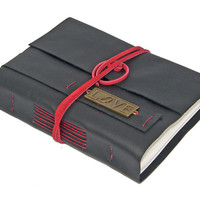 Black Leather Journal with Love Bookmark