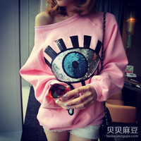 Sequined Sweater Printed with Big Eye