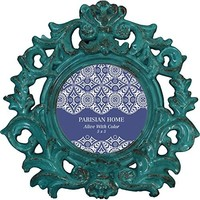 Home Accents Ornate Round Bohemian Picture Frame / Photo Frame 4 x 4 (Turquoise )