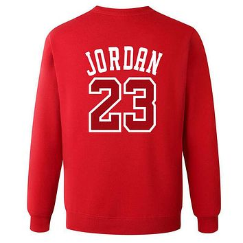 Jordan 23 Loose sweater size male in spring and autumn youth sports leisure T-shirt jumper tide Red