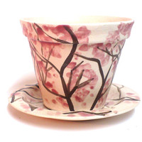 Pink Cherry Tree Planter, Ceramic Pottery,  Romantic Flowers, Clay pot , hand painted
