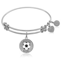 Expandable Bangle in White Tone Brass with Soccer Mom Symbol