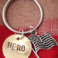 Hero Keychain - Brass, Copper, and American Flag, Patriotic Gift, Airman, Soldier, Marine, Navy, ARMY, Coast Guard