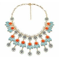Turquoise and Coral Bib Necklace
