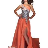 Mac Duggal Captivating Melon Chiffon Sparkling Chiffon Evening Gown Dress