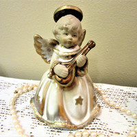 Angel Bell Stoneware Musical Collectibles White and Gold Cherub Religious Christmas