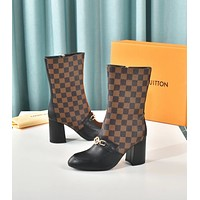 LV Louis Vuitton Trending Women's Leather Side Zip Lace-up Ankle Boots Shoes High Boots 07125
