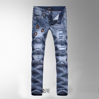 Men's Fashion Ripped Holes Slim Denim Pants Men Jeans [6528465859]