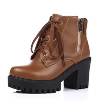 Lace Up Zipper High Heels Ankle Boots Chunky Heel 8150
