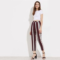 Fashion  Pants Mid Waist  Elastic Waist Casual Tapered Trousers Women's Work