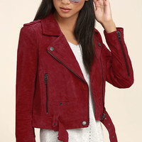 Blank NYC Backhanded Red Suede Leather Moto Jacket