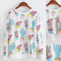White Printed Cactus Long Sleeve Sweatshirt