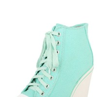 Wild Diva Ketson01a Mint Lace Up Wedge Sneakers and Shop Shoes at MakeMeChic.com