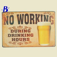 """Metal Sign Beer """"No Working"""" Vintage Metal Tin Signs Retro Tin Plate Sign Wall Decoration for Cafe Bar Shop Custom Neon Sign"""