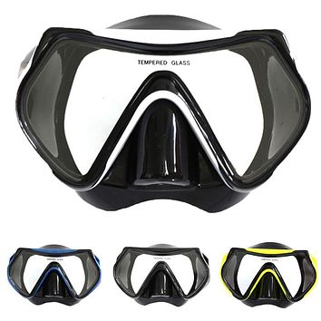 Adult Tempered Glass Lens Anti-fog Swimming Snorkeling Spearfishing Scubas Mask Diving Goggles Diving Equipment