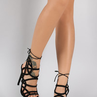 Corset Back Strappy Construction Ankle Heel