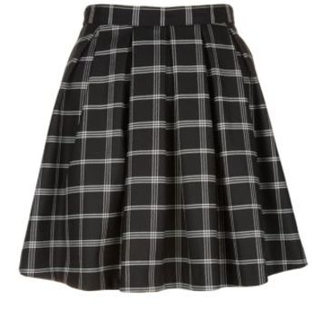 Black Grid Check Pleated Skater Skirt