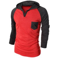 Doublju Men's Pocket Raglan Long Sleeve Pullover AMOHOL07