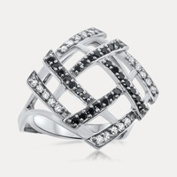 925 Silver Ring with Black & White CZ