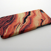 Cool Vintage Orange Marble Stone iPhone x 8 7 Plus & iPhone 6s 6 Plus Case Cover + Free Gift Box