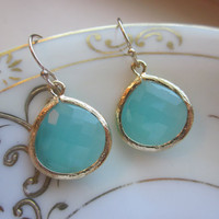 Pacific Aqua Earrings Blue Gold Large Gems - Bridesmaid Earrings Wedding Earrings Christmas Gift