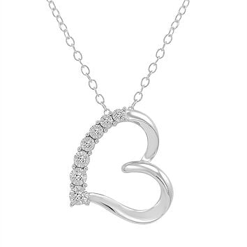 Diamond Heart Pendant-Necklace in .925 Sterling Silver