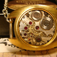 Steampunk  Necklace Made with Pocket Watch Movement in a Watch Case With Resin (1787)