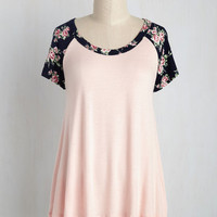 Petals at Play Top in Blush | Mod Retro Vintage Short Sleeve Shirts | ModCloth.com