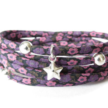 Purple plum wrap bracelet with floral Liberty of London fabric and 3x 925 Sterling silver beads and 1x star charm