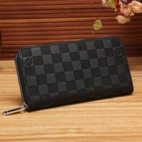Women Shopping Fashion Leather Zipper Wallet Purse Black