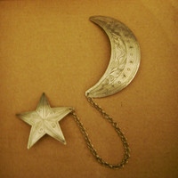 vintage moon and stars double brooch celestial