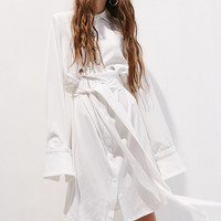 White Belted Wrap Dress