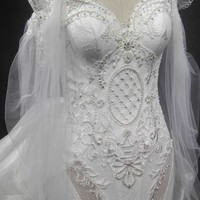 Darius Cordell couture long sheer sleeve wedding dress for SALE
