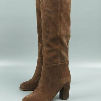 New Khaki Round Toe Chunky Fashion Knee-High Boots