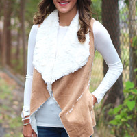 Amazing Fur + Suede Vest {Tan}