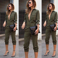 2016 Summer Cool Womens Rompers Jumpsuit Casual Solid Bodysuit Long Sleeve Deep V Long Pants Playsuits Plus Size