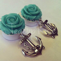 Silver Anchor with Rose Acrylic Ear Plugs by TeacupRose on Etsy