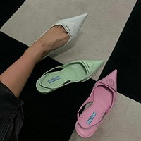 PRADA product triangle logo ladies high heel sandals slippers Shoes