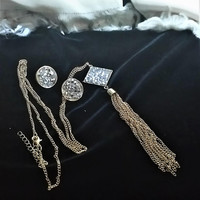 Vintage Glitz Jewelry Sets Long Tasseled Necklace and Cut Crystals in Pendant Cut Crystal Earrings Wedding Jewelry Prom Jewelry