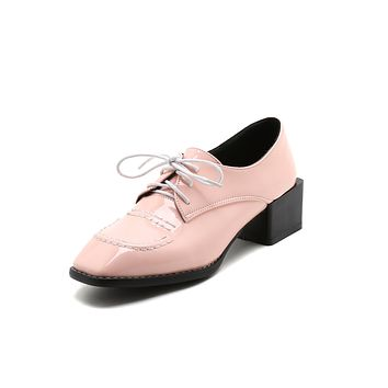 Lady British Wind Square Toe Lace Up Oxford Shoes
