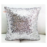 18inch Silver Sparkling Sequins Decorative Throw Pillowcase Cushion Cover Home Office Decoration