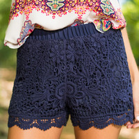 Love In Lace Shorts, Navy