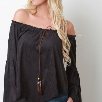 Bell Sleeved Off-the-Shoulder Peasant Top