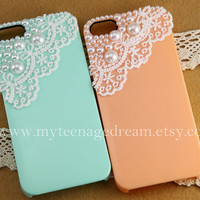 iphone 5 case, Romantic white lace and pearl trim Hard Case for iphone 5 case